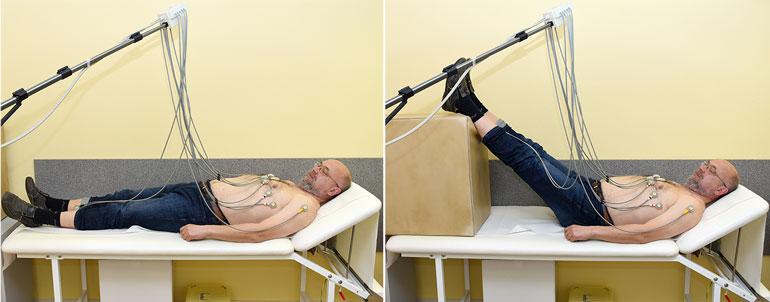 Abb. 2: Durchführung eines Volumen-EKG: Anheben der Beine stellt für das Herz durch das gesteigerte Blutvolumen einen Belastungstest dar.